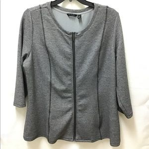 H by Halston Peplum Scoop Neck Gray Shirt, XL